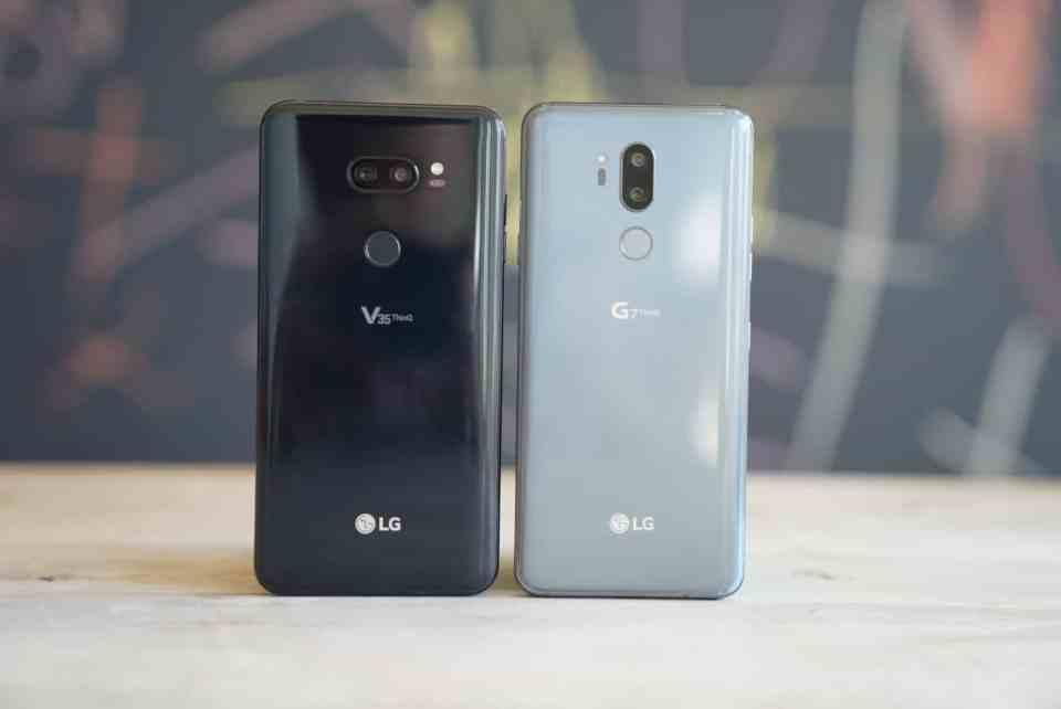 LG V35 vs LG G7 Standing Backs