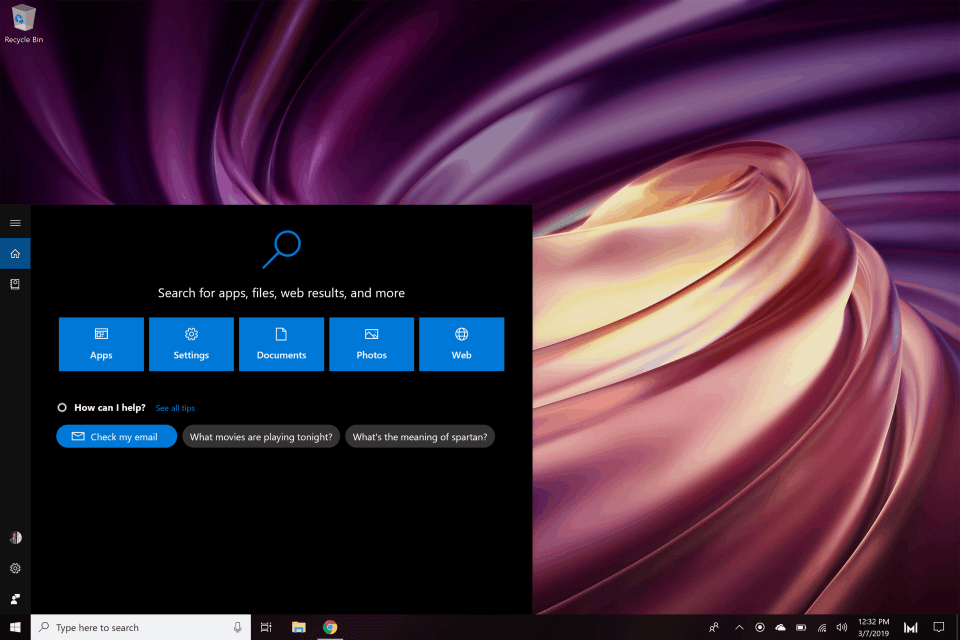 Open Start Menu Search