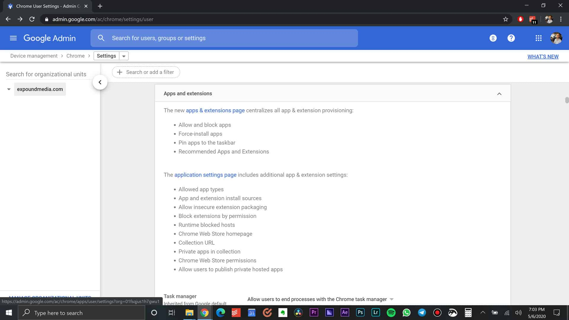 Application Settings Page