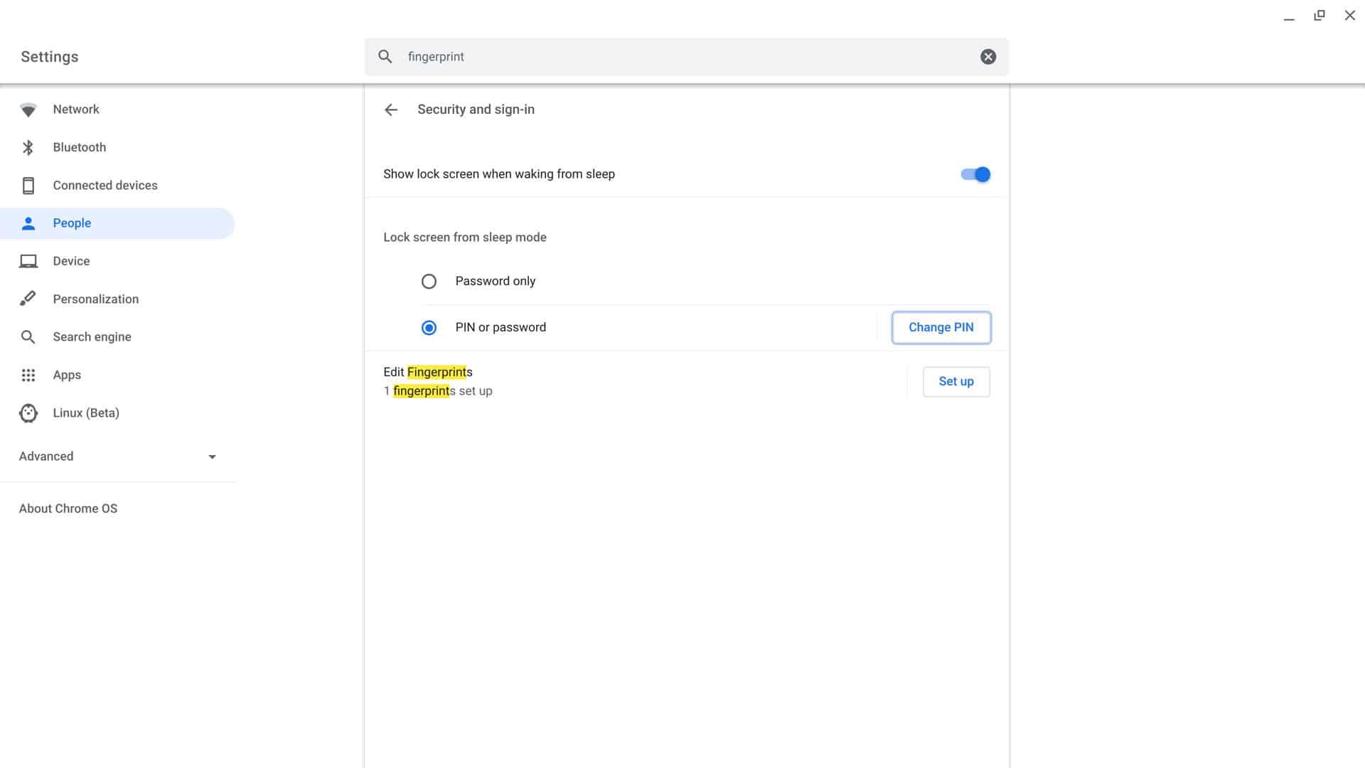 Enable Fingerprint on the Chromebook