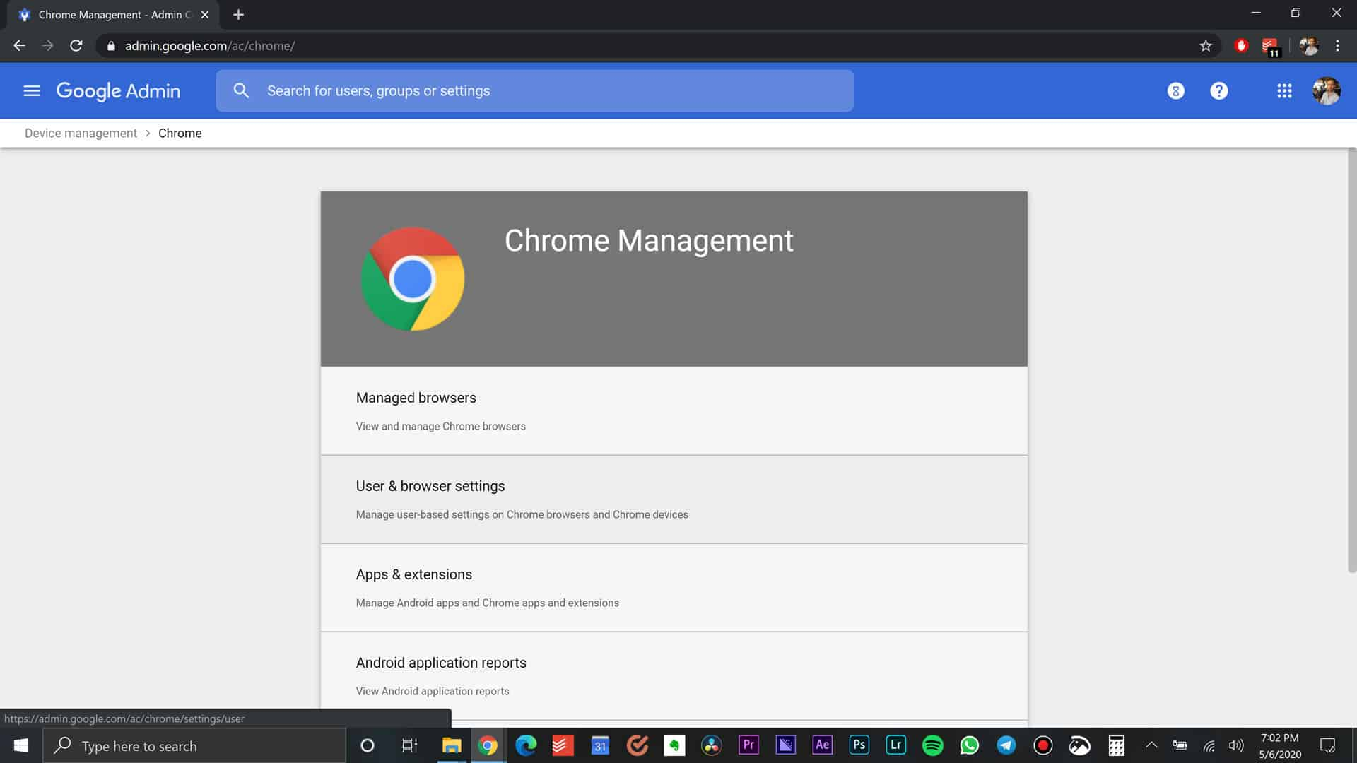 User and Browser Settings