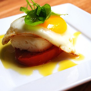 Sunny Side Caprese with Basil
