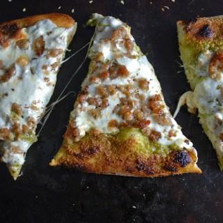 Pistachio Pesto Sausage Pizza