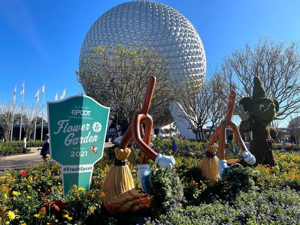 2021 Taste of EPCOT International Flower & Garden Festival Sorcerer Mickey Fantasia topiary entrance display