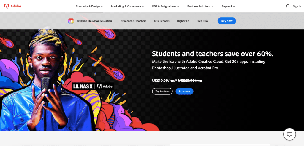 For all creative and design college students, you can receive a ton of Adobe tools for a discounted price. Instead of the regular price of $52.99 a month, you can pay $19.99 a month with a valid school email or school ID.