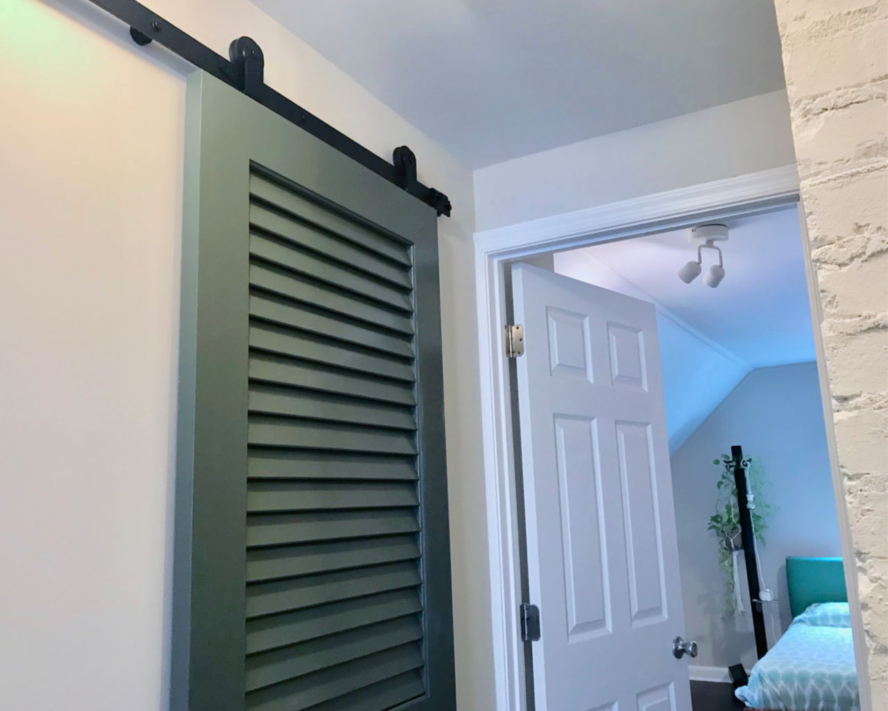 Turn Any Door Like This Green Louvered Door Into A Barn