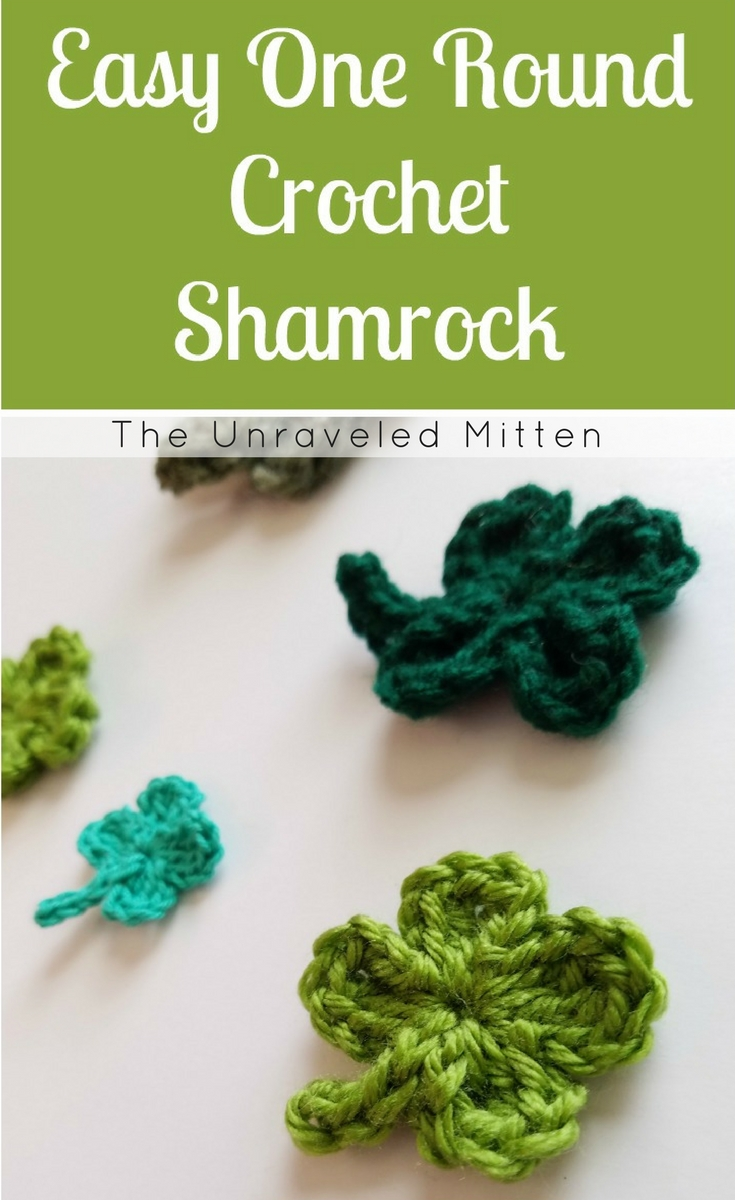 Easy Crochet Shamrock | Free Crochet Pattern | The Unraveled Mitten | Four Leaf Clover