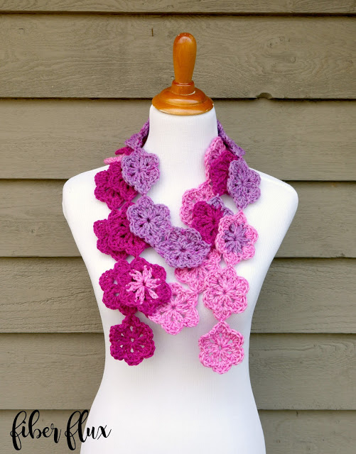 Crochet Mother's Day Gift Ideas: Maui Blossom Scarf by Fiber Flux