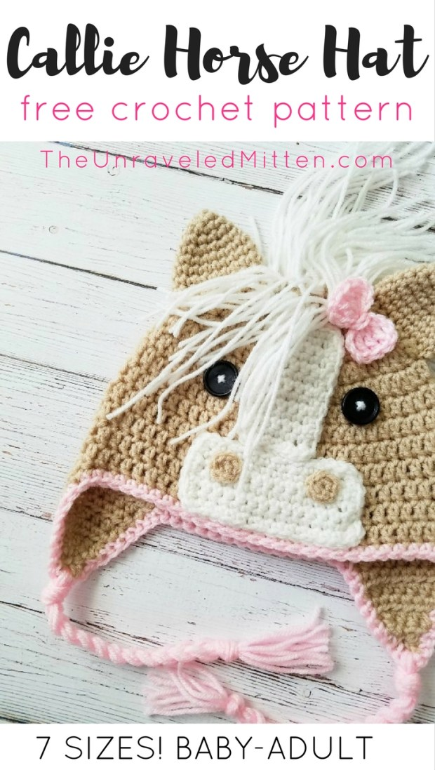 Callie Horse Hat | Free Crochet Pattern | The Unraveled Mitten | Available in 7 sizes baby-adult