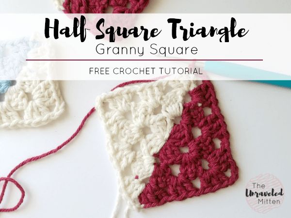 Half Square Triangle Crochet Tutorial | Two Tone Granny Square | The Unraveled Mitten