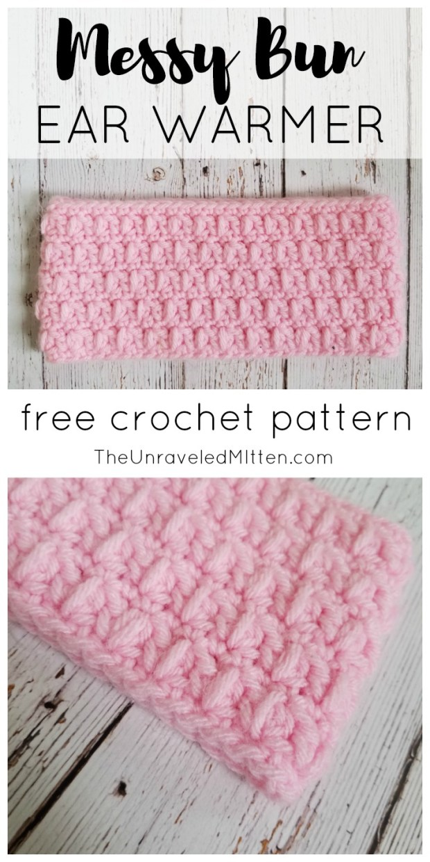 Messy Bun Wide Ear Warmer | Free Crochet Pattern | The Unraveled Mitten