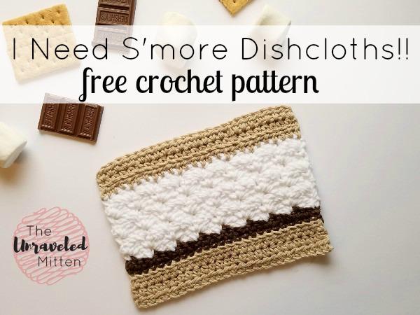 S'more Dishcloth Free Crochet Pattner | The Unraveled Mitten | Easy | Summer