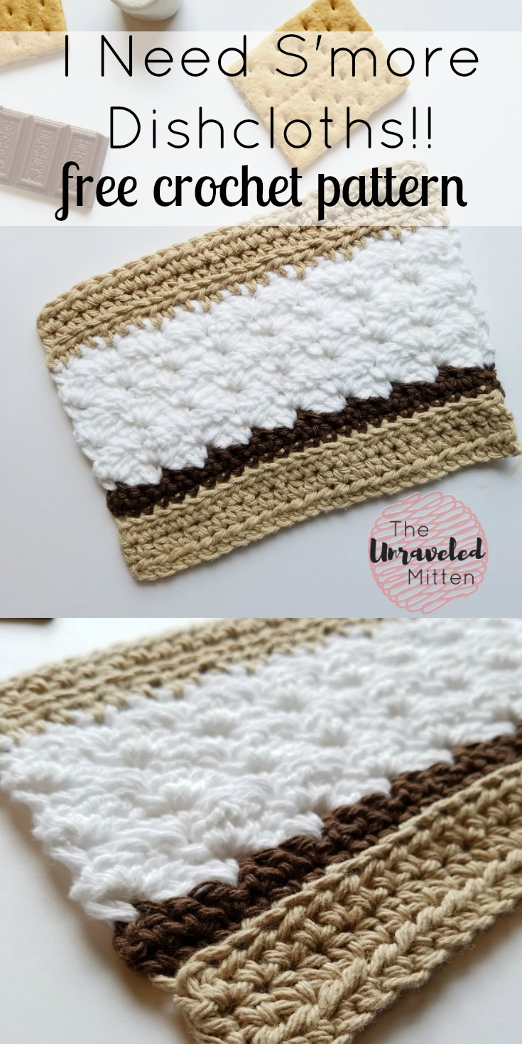 S'more Dishcloth Free Crochet Pattnern   The Unraveled Mitten   Easy   Beginner   Cotton yarn   Summer Crochet