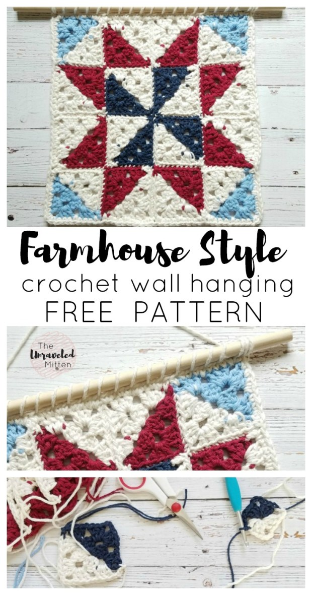 Barn Quilt Inspired Crochet Wall Hanging | Add some Farmhouse Style to your home today! | Free Crochet pattern | The Unraveled Mitten