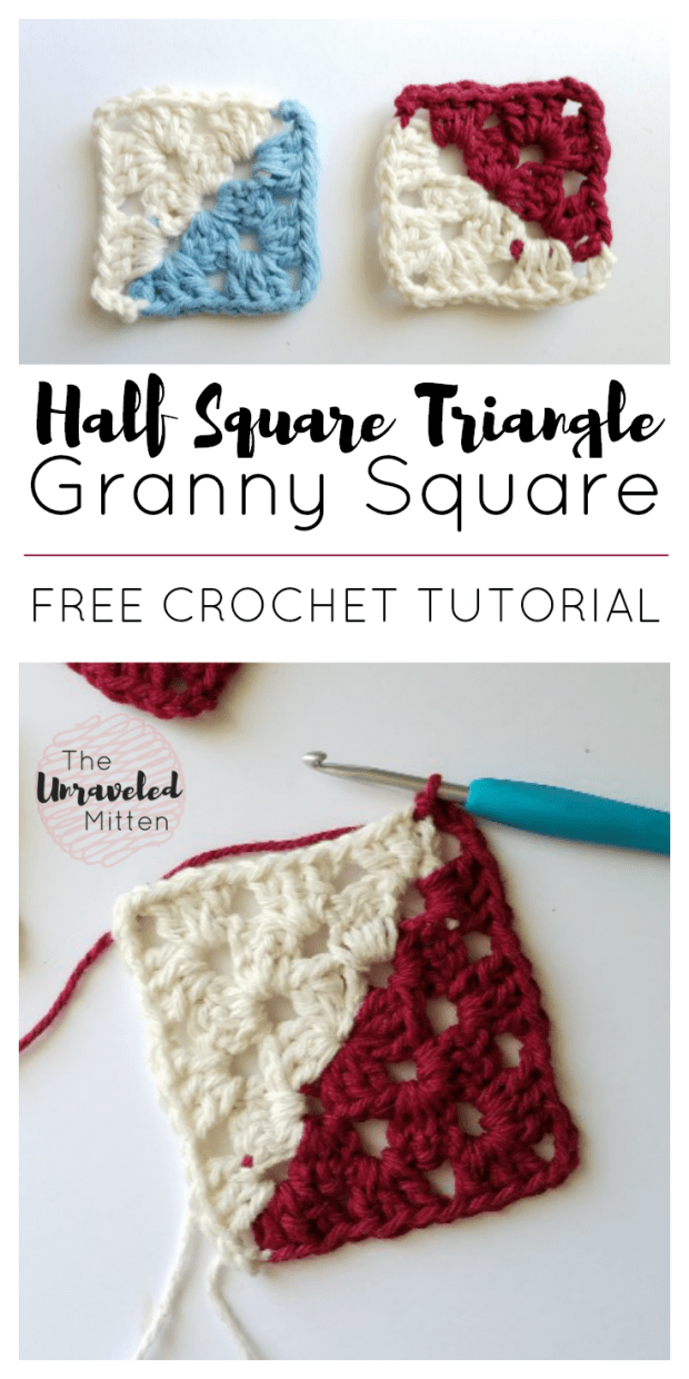 Half Square Triangle Crochet Tutorial | Two Toned Granny Square | The Unraveled Mitten