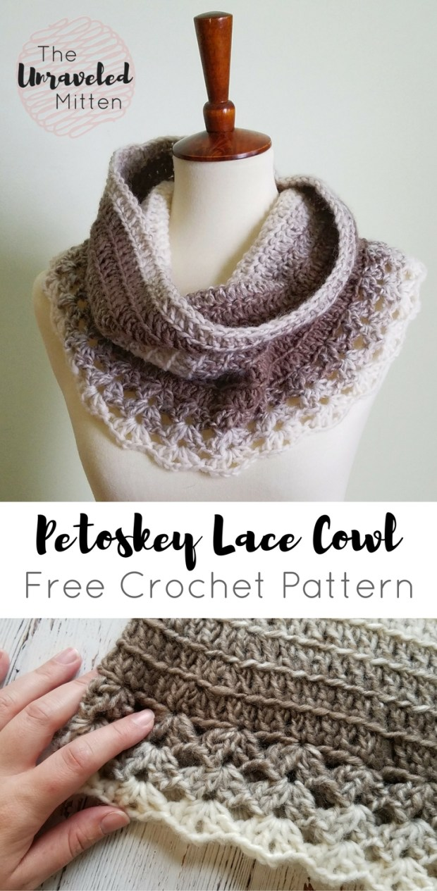 Petoskey Lace Cowl: Free Crochet Pattern | The Unraveled Mitten