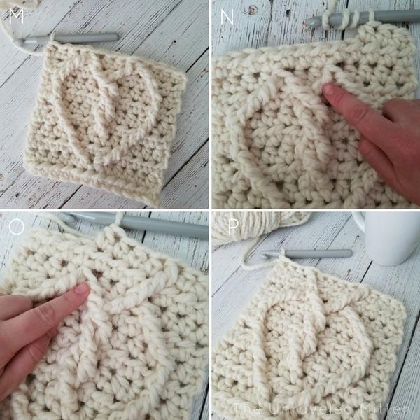 Crochet Cable heart Tutorial 5