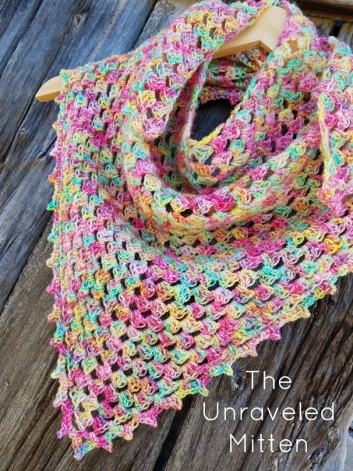 Spring Triangle Scarf | Free Crochet Pattern | Crochet Shawl Pattern Round Up | The Unraveled Mitten