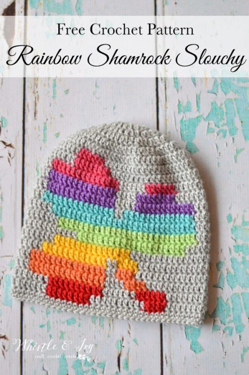 Rainbow Shamrock Slouchy Hat | Part of a St. Patrick's Day Crochet Pattern Round Up Curated by The Unraveled Mitten