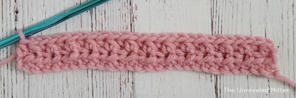 back and front loop half double crochet row 2   the unraveled mitten