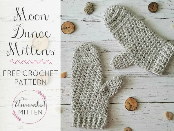 Moon Dance Easy Textured Crohcet Mittens | The Unraveled Mitten