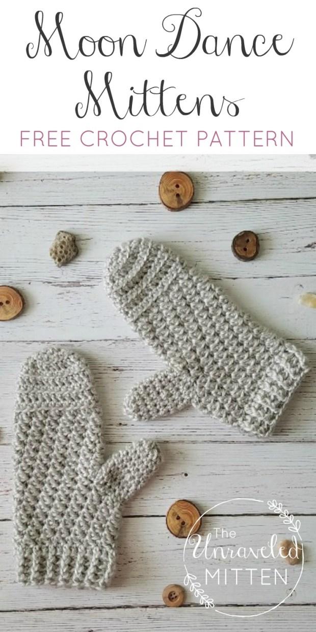 Moon Dance Mittens | Free Crochet Pattern | The Unraveled Mitten
