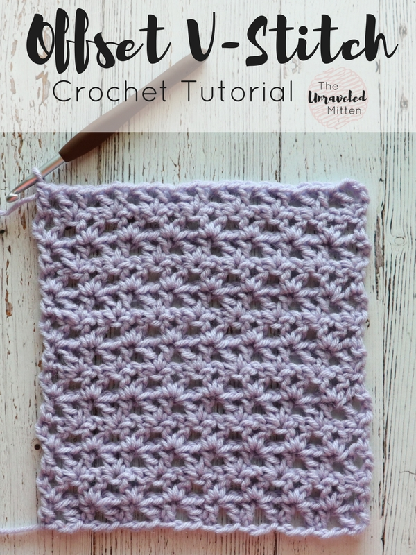 Offset V Sitch | Free Crochet Stitch Tutorial | The Unraveled Mitten