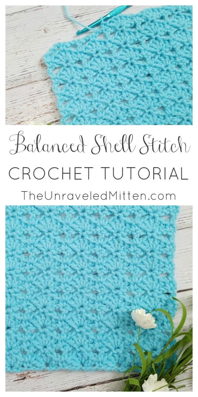 Balanced Shell Stitch | Crochet Tutorial | The Unraveled Mitten | Easy | Balnket | Scarf | Shawl