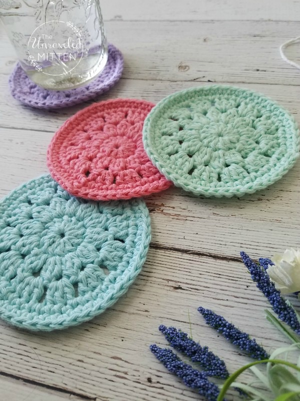 Spring Blooms Crochet Coaster Free Pattern The Unraveled Mitten Inspiration Crochet Coaster Pattern