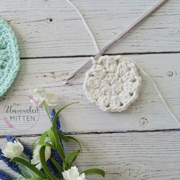 Spring Blooms Crochet Coaster progress after round 2