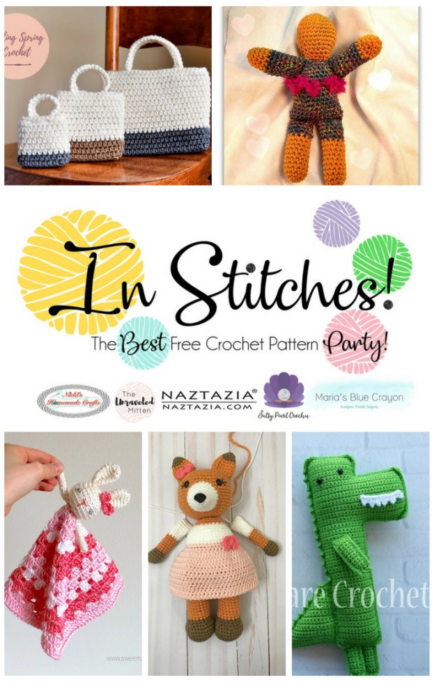 In Stitches | Best Free Crochet Pattern Party #10 | The Unraveled Mitten | This weeks featured crochet patterns would be perfect for a birthday or baby shower gift. You can even crochet these cute amigurimi toys their own gift bag!