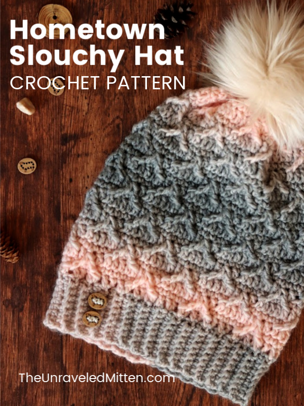 Hometown Crochet Slouchy Hat   Free Crochet Pattern   The Unraveled Mitten   This textured crochet hat uses crochet post stitches to create an interesting pattern.