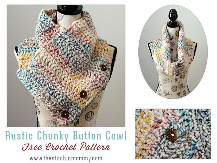 9 Free Crochet Patterns using Wool-Ease Thick and Quick in Hudson Bay | Rustic Button Scarf from The Stitchin' Mommy| part of a round up The Unraveled Mitten