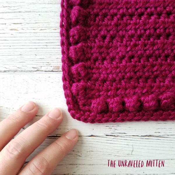 Single Crochet Popcorn Border | Cable Flower Square | Free Crochet Pattern | The Unraveled Mitten