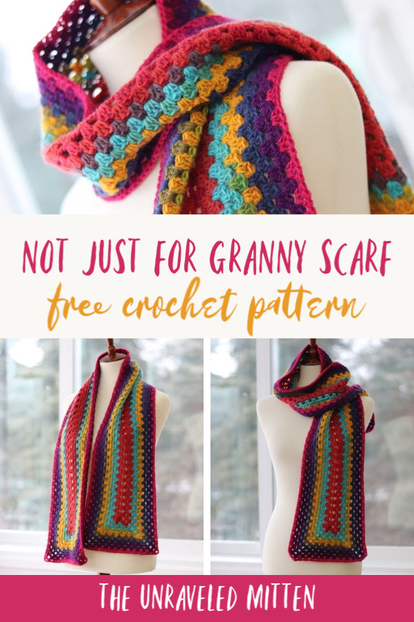 Not Just For Granny Scarf   Free Crochet Pattern   The Unraveled Mitten   This easy crochet scarf uses one cake of Lion Brand Mandala and features a modern rectangle granny pattern.