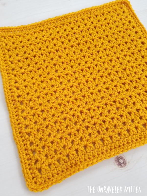 Paired Double Crochet Square Free Crochet Pattern | The Unraveled Mitten