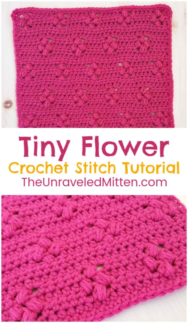 Tiny Flower Crochet Stitch Tutorial   The Unraveled Mitten   2019 Stash Busting Sampler Afghan Crochet Along Block #8   This unique crochet stitch features little puff stitch flowers and would make a great blanket, scarf or even sweater!