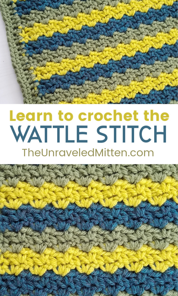 Learn to Crochet the Wattle Stitch | Free Crochet Tutorial and Afghan Square Pattern | The Unraveled Mitten | 2019 Stash Busting Crochet Along Block #9
