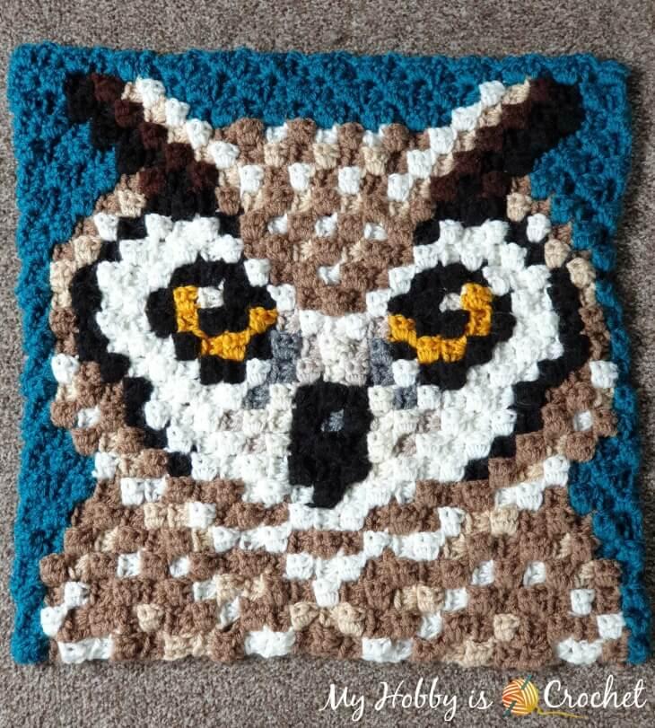 Horned Owl C2C Square - Free Crochet Pattern + Graph | Wildlife Graphghan CAL Block 13