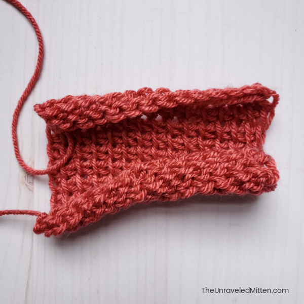 Curling in Tunisian crochet