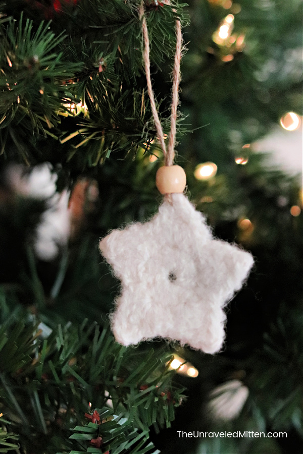 Felted Crochet Star Hanging on a Christmas Tree