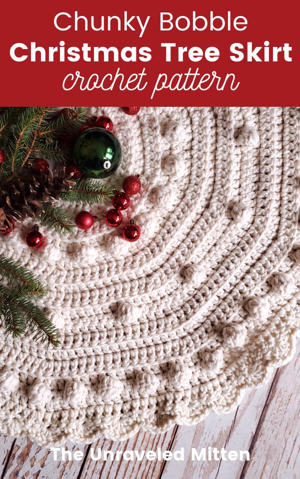 Chunky Bobble Crochet Christmas Tree Skirt