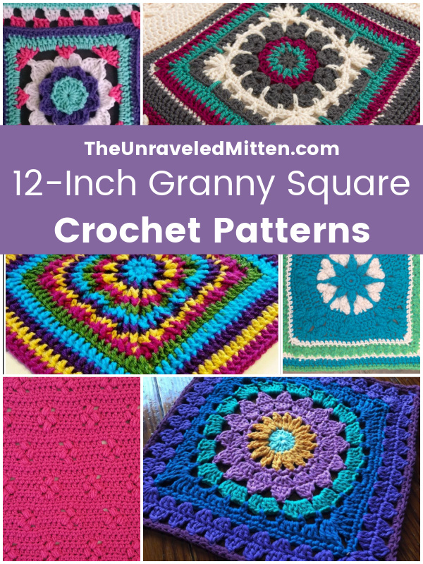 Mix and Match these lovely 12 inch granny squares and make a blanket of your own! Crochet Pattern Round Up by The Unraveled Mitten