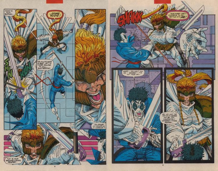 Shatterstar is able to easily slice people up because his sword has two blades.  DOUBLE CUTTING ACTION!