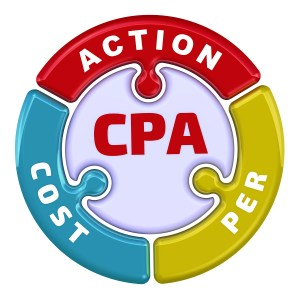 "CPA. Cost Per Action. The check mark in the form of a puzzle. The inscription ""CPA. COST PER ACTION"" on the puzzle in the shape of a circle. 3D Illustration. Isolated"