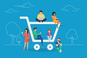 E-commerce cart concept illustration of young people using mobile gadgets such as tablet and smartphone for online purchasing and ordering goods. Flat guys and women sitting on the ecommerce symbol