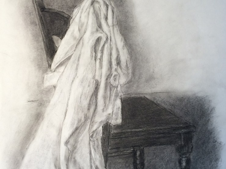 Detail of fabric study drawing by L.S. King.