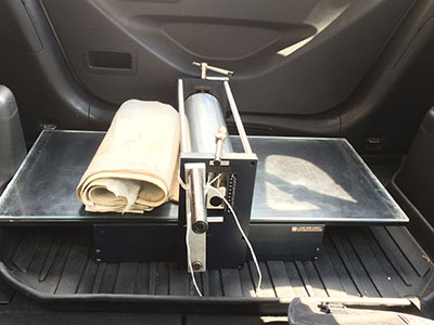 When you know it is yours – the Ettan Ms-18 etching press in the back of my car.