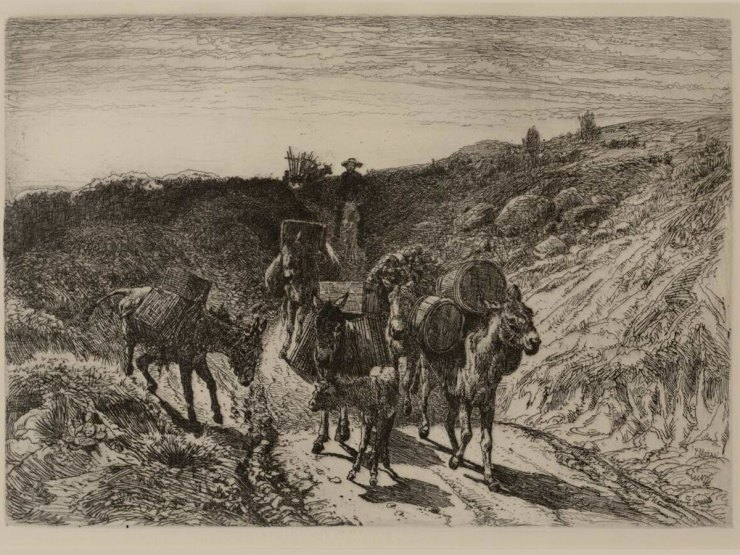 """A Burro Train, New Mexico"" by Peter Moran, 6.75"" x 9.25"", etching, 1882. An example of the Etching Revival. Seen at the Argos Studio Gallery."