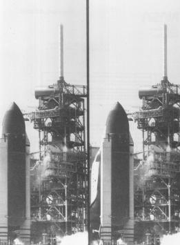 255-CB-86-H-142: Two Views of the Space Shuttle Challenger Taken from a Camera Site Due East of Launch Pad B.